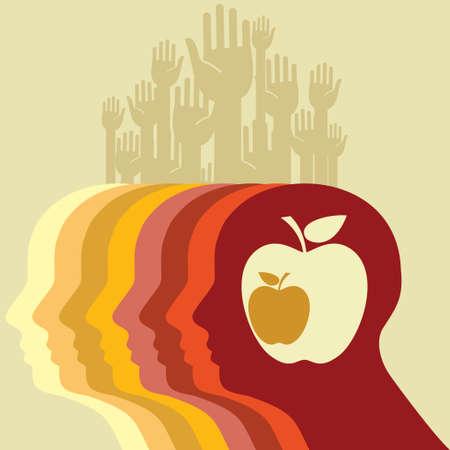 brain food: Head and apple - Illustration