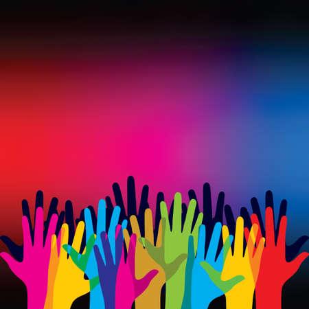 Hands raised - Illustration Illustration
