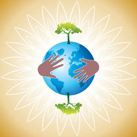 graticule: Helping hand make tree on earth - vector illustration - Illustration Illustration