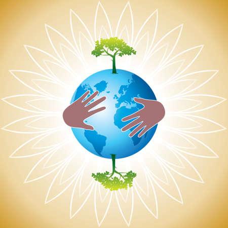 graticule: Helping hand make tree on earth - vector illustration - Illustration Illustration