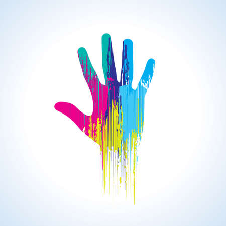 multi finger: Colorful Hand Print Texture - Stock Image Illustration