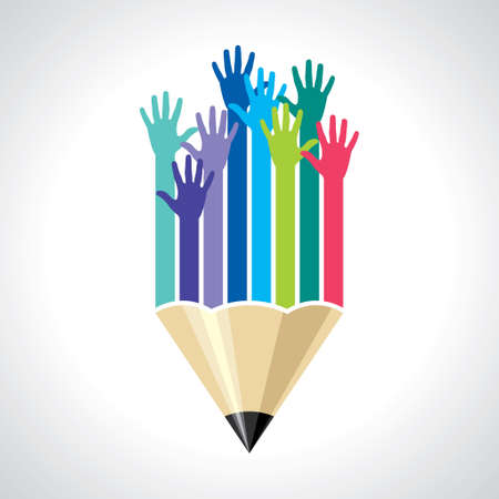 many hands of students - Illustration
