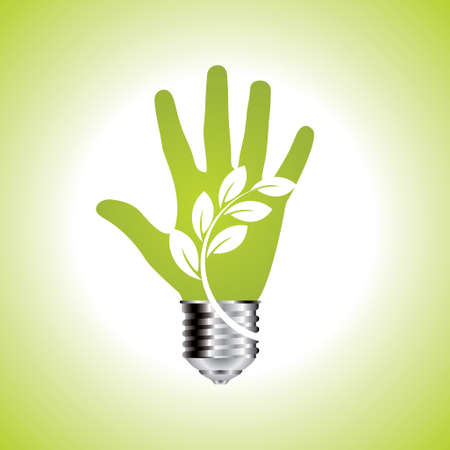 Green ecology bulb in open hands - Illustration Vector