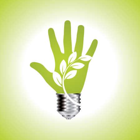 Verde ecologia lampadina in mani aperte - Illustrazione Archivio Fotografico - 33480680