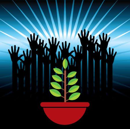 ecological hands up - Illustration Vector