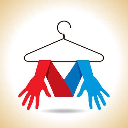 laundry hanger: manos coloridas que cuelgan en perchas aislados.