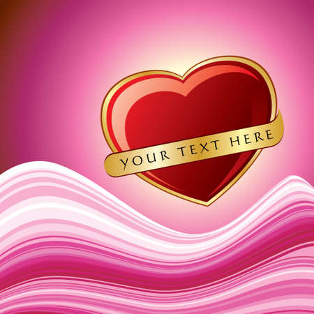 red hearts with gold ribbon isolated - Illustration Vector