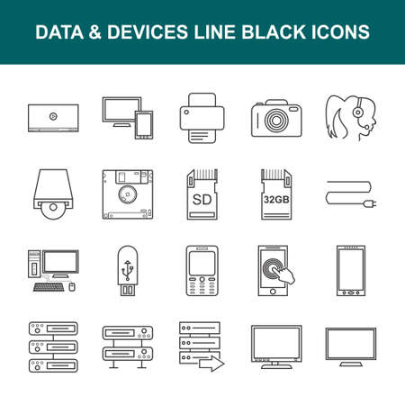 Beautiful Data & Devices Line Black Icons. 向量圖像