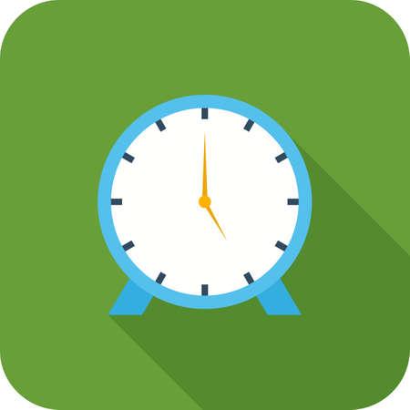 Clock Flat Long Shadow Icon Ilustração