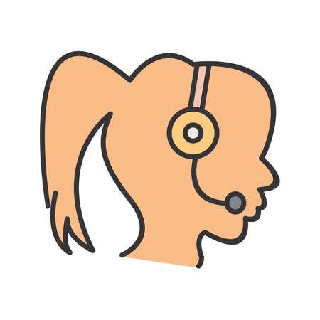 Call Centre Line Filled Icon Ilustração
