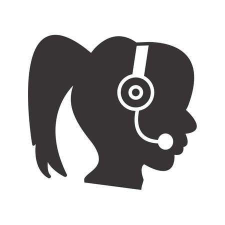 Call Centre Glyph Black Icon Ilustração
