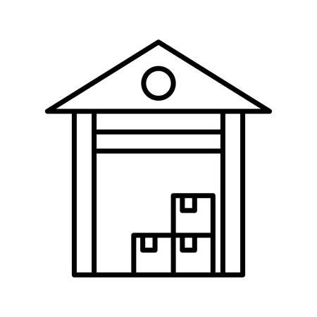 warehouse Line Black Icon Ilustração