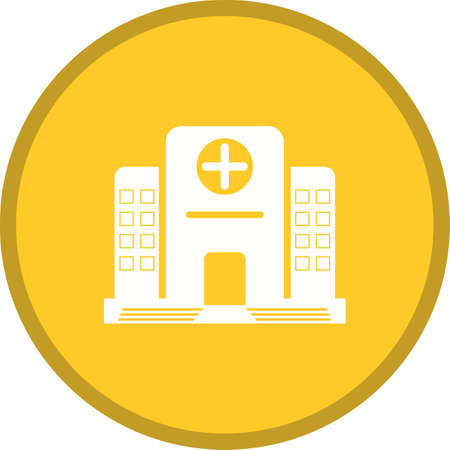 Hospital Glyph icon with Multi color Background 免版税图像 - 123100484