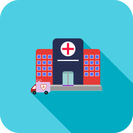 Hospital Flat Long Shadow Icon 矢量图像