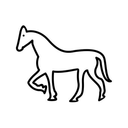 Horse Line Black Icon
