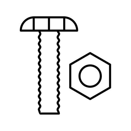 Nut and Bolt Line Black Icon