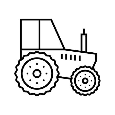 Tractor Line Black Icon 矢量图像
