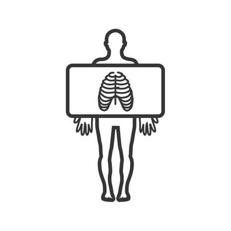 Chest X ray Line Black Icon