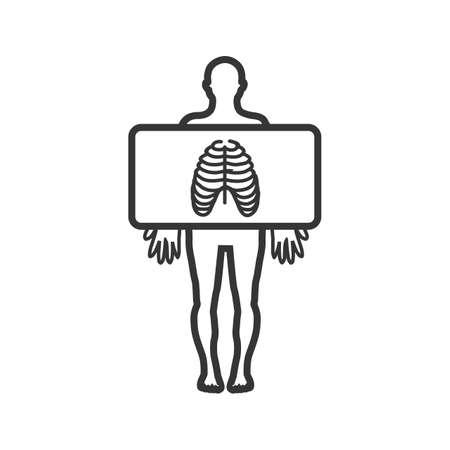 Chest X ray Line Black Icon