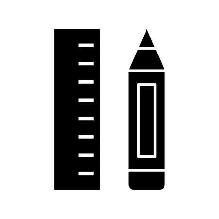 Pencil & Ruler Glyph Black Icon
