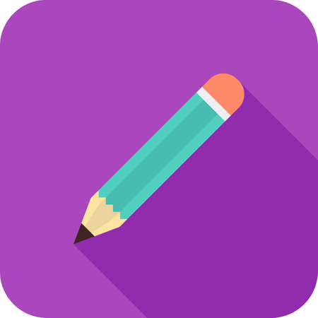 Pencil Flat Long Shadow Icon Illustration