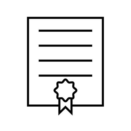 Certificate Line Black Icon
