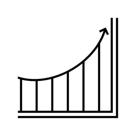 Increasing graph Line Black Icon
