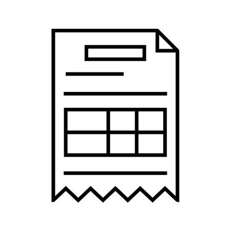 Invoice Line Black Icon Ilustración de vector