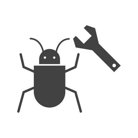 Bug fixing Glyph Black Icon Ilustração Vetorial