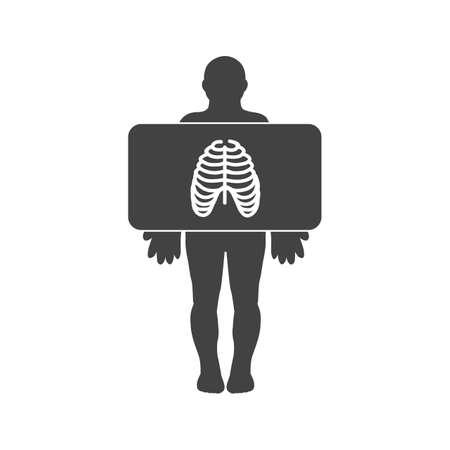Chest X ray Glyph Black Icon Illustration