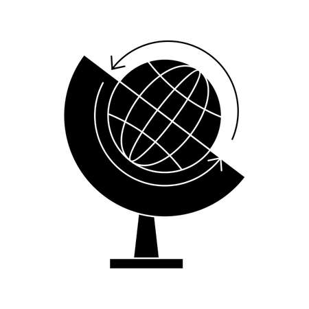 Globe Glyph Black Icon Illustration