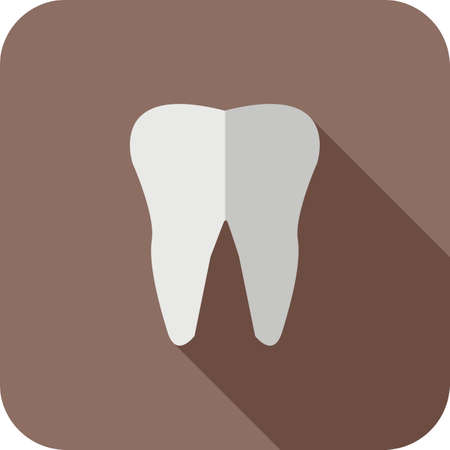 tooth Flat Long Shadow Icon 免版税图像 - 122811796