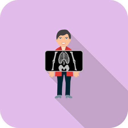 Chest X ray Flat Long Shadow Icon Illustration