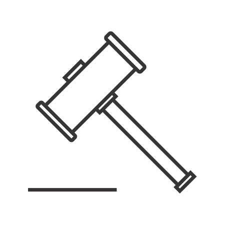 wooden hammer Line Black Icon Ilustração