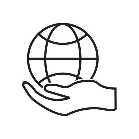 Global hand Line Black Icon Illustration