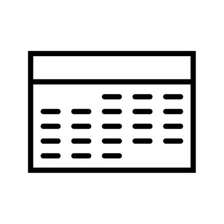 Calendar Line Black Icon