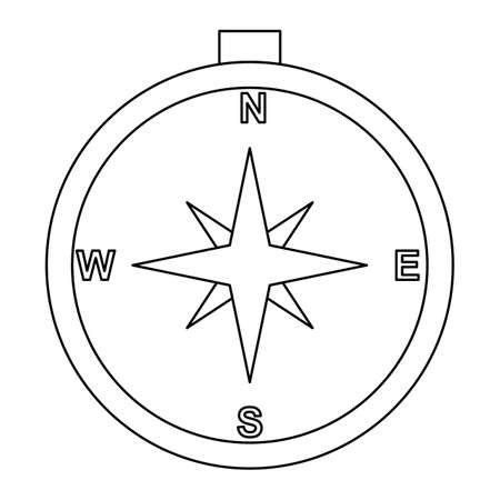 Compass Line Black Icon