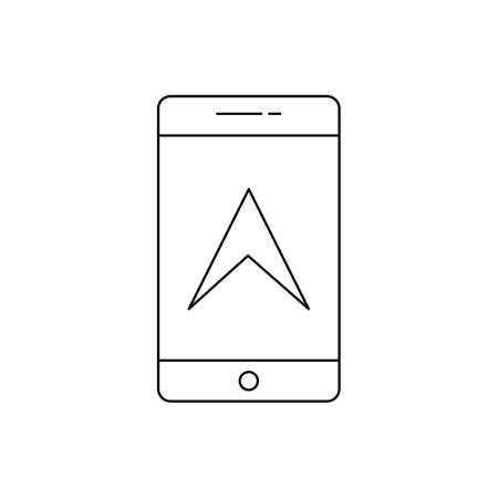 Mobile GPS Line Black Icon