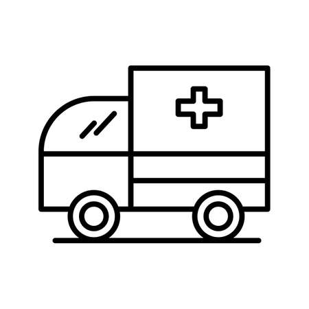 Ambulance Line Black Icon 일러스트