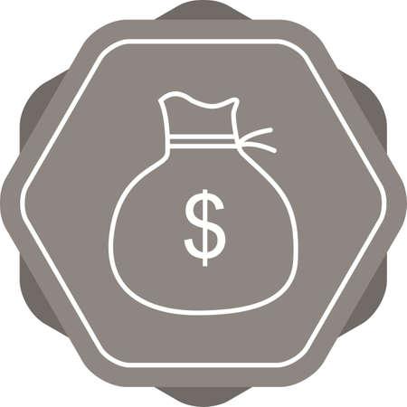 Beautiful Money bag Vector line icon Çizim
