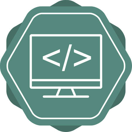 Beautiful Coding on screen vector line icon Illustration