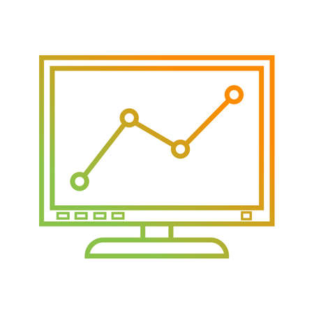 Beautiful Graph on computer vector line icon Illustration