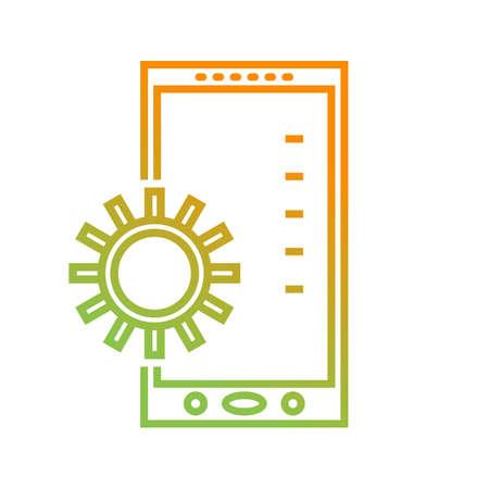 Beautiful Mobile settings vector line icon Ilustracja