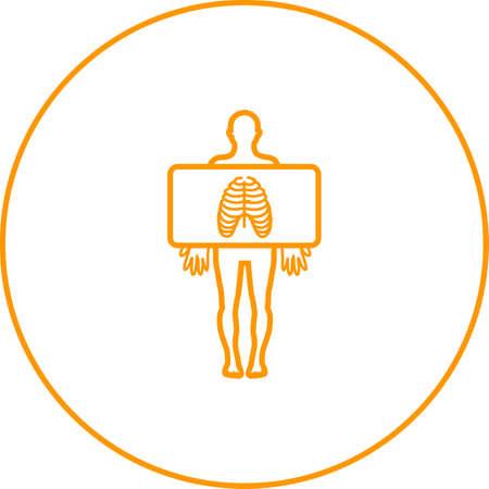 Chest X ray vector line icon  イラスト・ベクター素材