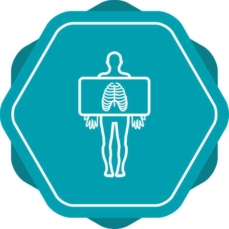 Chest X ray vector line icon Illustration