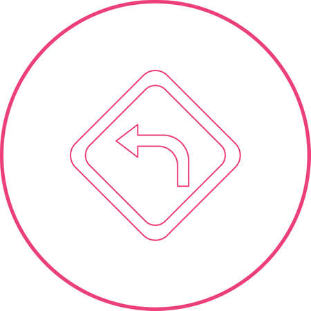 Left turn ahead vector line icon