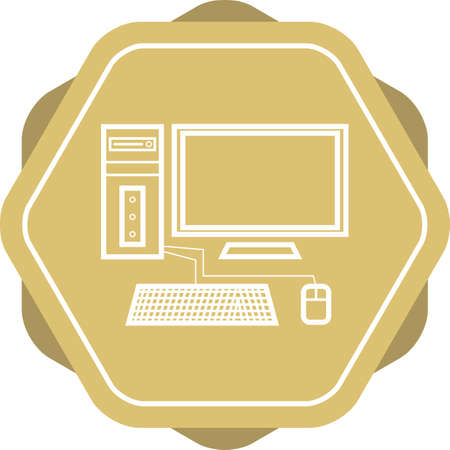 Beautiful Computer vector line icon Illustration
