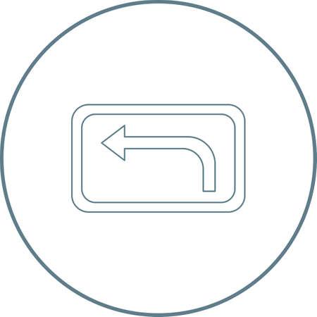 Beautiful Left Turn line icon
