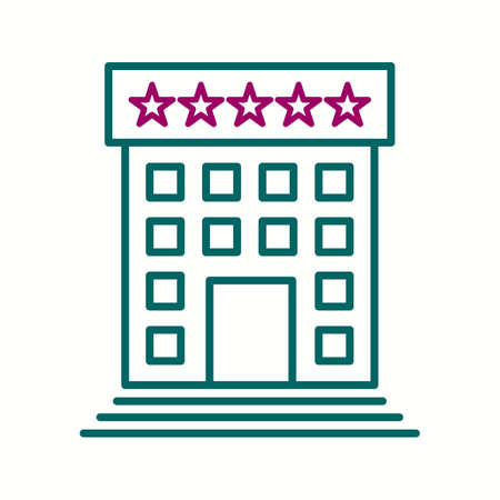 Beautiful Five Star hotel Vector line icon