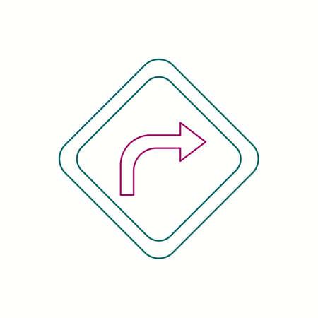 Beautiful Right Turn Ahead line icon